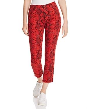 Pam & Gela Baby Boa Slim Crop Jeans in Red