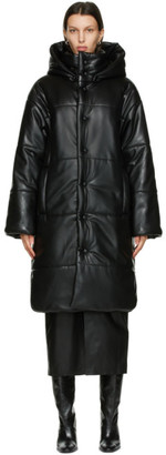 Nanushka Black Vegan Leather Eska Long Coat