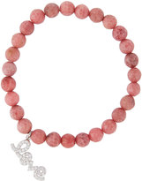 Tai Agate Beaded Stretch Bracelet w/ Pave Love Charm, Rose