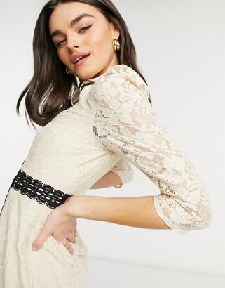 Little Mistress lace sleeve midi dress in cream
