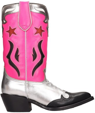 Ash Prince02 Texan Ankle Boots In Silver Leather