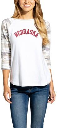 Women's White/Camo Nebraska Cornhuskers Boyfriend Baseball Raglan 3/4-Sleeve T-Shirt