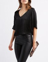 Charlotte Russe Satin Lace-Up Back Top