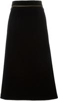 Saint Laurent Long Velvet Skirt With Piping