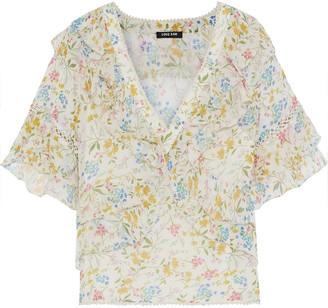Love Sam Blossom Ruffled Floral-print Voile Blouse