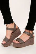 Bamboo Aoife Taupe Suede Platform Wedge Sandals