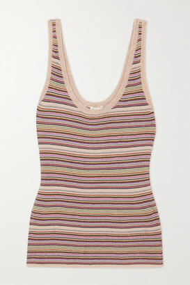 LOVE Stories Josey Striped Metallic Knitted Tank - Lilac