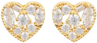 Latelita Heart Sparkling Stud Earrings Gold