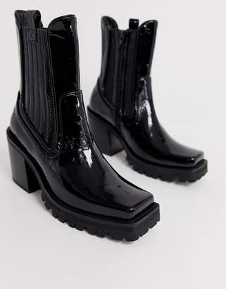 Jeffrey Campbell Elkins leather chunky western heel boot-Black