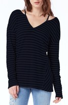 Michael Stars Women's Cutout Shoulder Stripe Thermal Top
