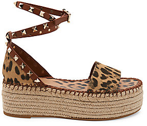 Valentino Women's Garavani Rockstud City Safari Double Espadrille Platform Sandals