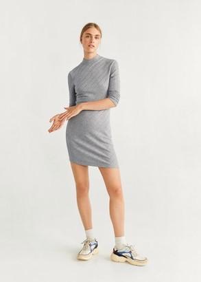 MANGO Ribbed jersey dress medium heather grey - 2 - Women