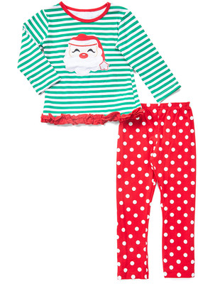 Lady's World Girls' Casual Pants GREEN - Green Stripe Santa Tunic & Red Polka Dot Leggings - Newborn, Toddler & Girls