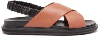 Marni Bi-colour Leather Slingback Sandals - Black Tan