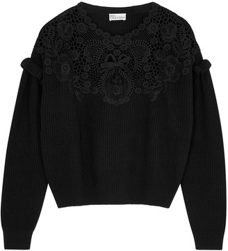 RED Valentino Black Lace-panelled Ribbed-knit Jumper