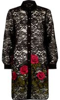 River Island Womens Black lace rose embroidered shirt