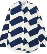 Victoria Beckham Printed Silk Shirt - Navy