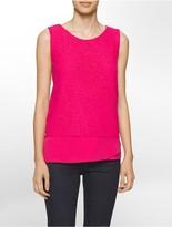 Calvin Klein Lace Crepe Trim Sleeveless Top