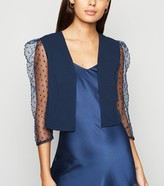 New Look Spot Organza Sleeve Crop Blazer