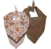 David & Young Women's Floral Bandana - 2 Pack -Olive Green/Pink/Orange