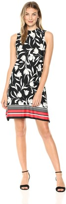 Tiana B T I A N A B. Women's bordersharkbite Mock Neck Dress