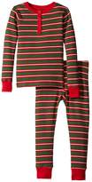 Hatley Santa Stripes Waffle Henley PJ Set (Toddler/Little Kids/Big Kids)
