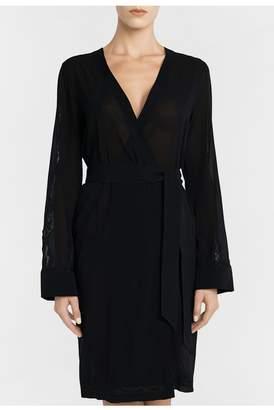 La Perla Liaison Black Short Silk Robe With Macrame Trim