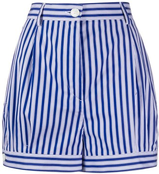 Prada Striped High-Waist Shorts