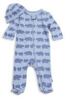 Offspring Baby Boy's Two-Piece Bear Tracks Printed Cotton Footie & Hat Set