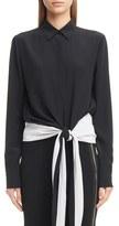Givenchy Women's Tie Hem Crepe De Chine Blouse