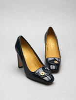 Squared Toed Court with Branded Button Tab Detail in Navy Patent