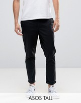 Asos Tall Tapered Chinos In Black