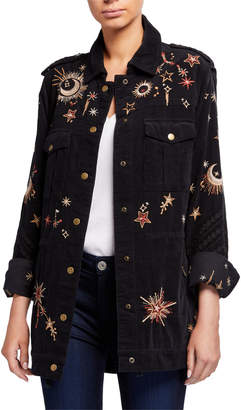 Johnny Was Teleseto Baby Celestial Embroidered Drawstring Military Jacket