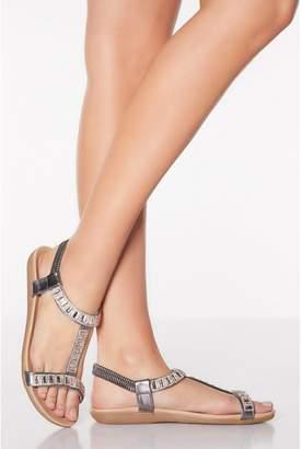 Quiz Comfort Bronze Diamante Flat Sandals