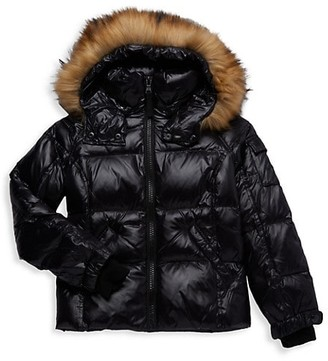 S13 Girl's Faux Fur-Trim Hooded Puffer Jacket