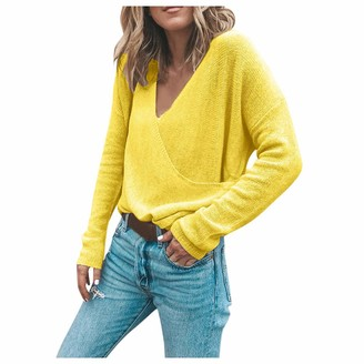 CHMORA Women's Winter Fashion Long Sleeve Solid Loose Sweater Top Blouse Essential Tops for Autumn and Winter Tops Yellow
