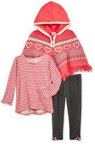 Nannette 3-Pc. Sweater Poncho, T-Shirt & Leggings Set, Toddler & Little Girls (2T-6X)