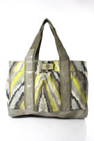 Trina Turk Multi-Color Canvas Patent Leather Open Top 4 Pocket Tote Handbag