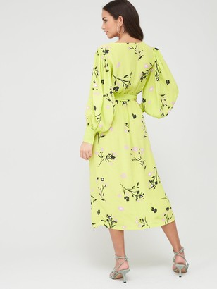 River Island Floral Wrap Front Midi Dress - Lime