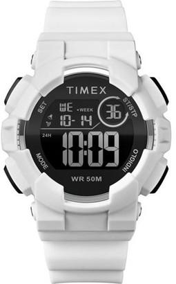 Timex Unisex Mako DGTL Digital 44mm White/Black Watch, Silicone Strap