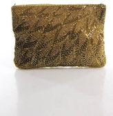 La Regale Gold Metallic Beaded Zippered Top Clutch Handbag