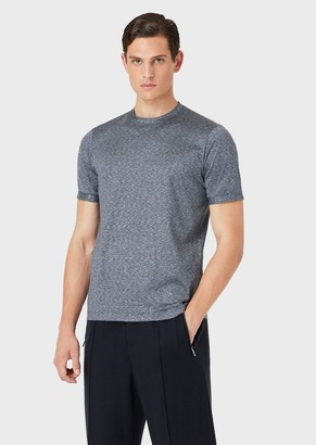 Giorgio Armani T-Shirt In Striped Cotton And Silk