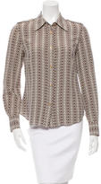 Tory Burch Printed Button-Up Silk Top