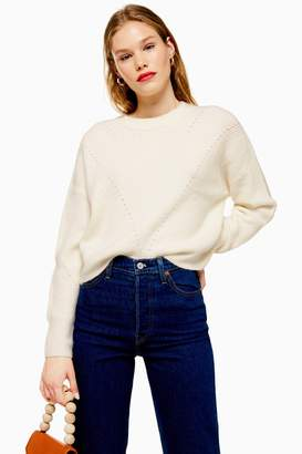 Topshop Womens Ivory Super Soft Pointelle Knitted Jumper - Ivory