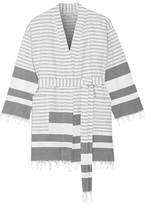 Skin - Tasseled Striped Cotton Robe - White