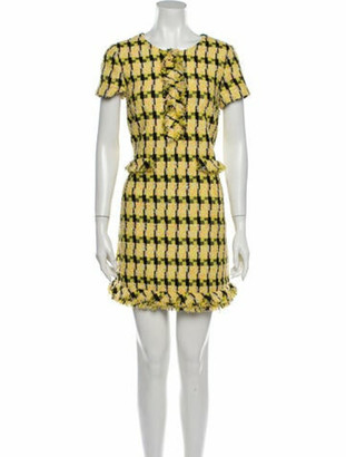 Boutique Moschino Printed Mini Dress Yellow