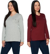 Factory Quacker Set of 2 Long Sleeve T-shirts with Zipper Detail