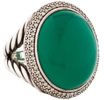 David Yurman Green Onyx & Diamond Signature Oval Ring