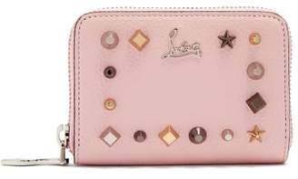 Christian Louboutin Panettone Embellished Zip-around Leather Wallet - Womens - Pink Multi