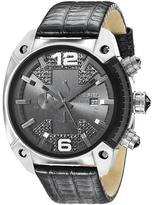 Diesel Overflow DZ4372 Men's Round Black Leather Watch